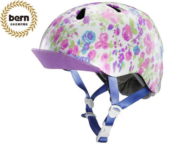 【国内正規品】 バーン bern NINA ニーナ (Visor付) SATIN WHTITE FLORAL VISOR BE-VJGSWFV ツヤあり白×花柄 自転車 スケートボード BMX ピスト ヘルメット キッズ