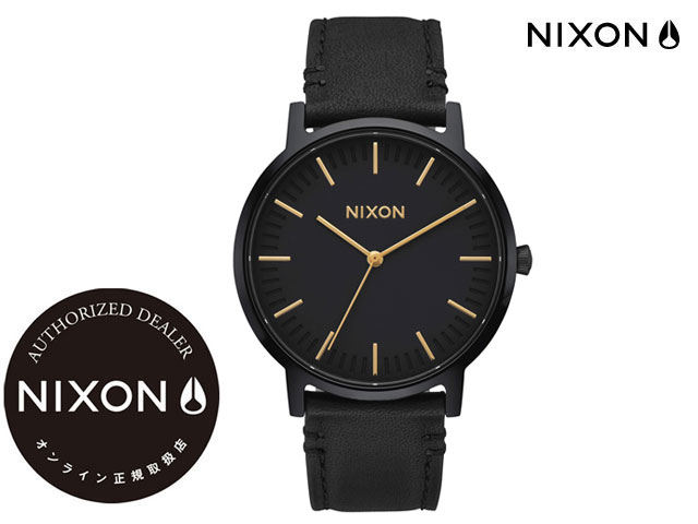 【国内正規品】 ニクソン NIXON THE PORTER LEATHER ALL BLACK/GOLD ザ ポーター レザー オールブラック/ゴールド 腕時計 WATCH
