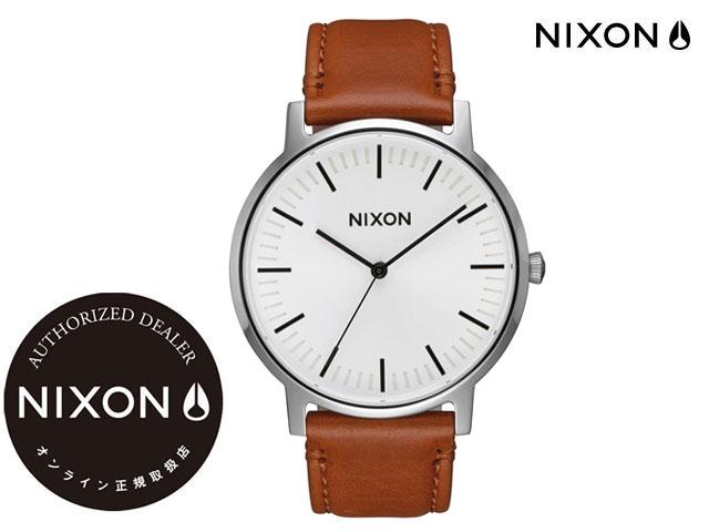 【国内正規品】 ニクソン NIXON THE PORTER LEATHER WHITE SUNRAY/SADDLE ザ ポーター レザー ホワイト サンレイ/サドル 腕時計 WATCH