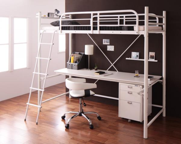 3段可動デスク&コンセント宮棚付きロフトベッド【Strain】ストレイン【フレームのみ】ベッドもデスクも両方ほしい!
