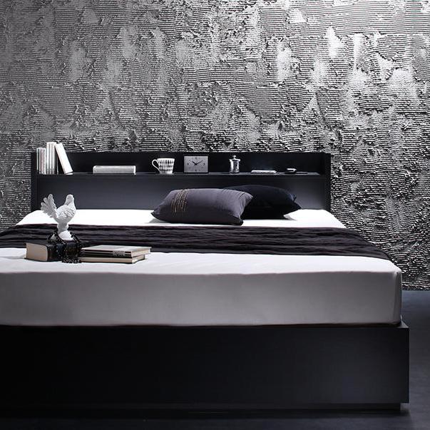棚・コンセント付き収納ベッド【VEGA】ヴェガ シングル スタンダードボンネルコイルマットレス付き