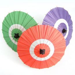 ミニチュア 和紙製 和傘 料理飾り【蛇の目傘】【100個入】【大:直径14cm】カラー:朱・緑・紫 飾り 和風 お正月
