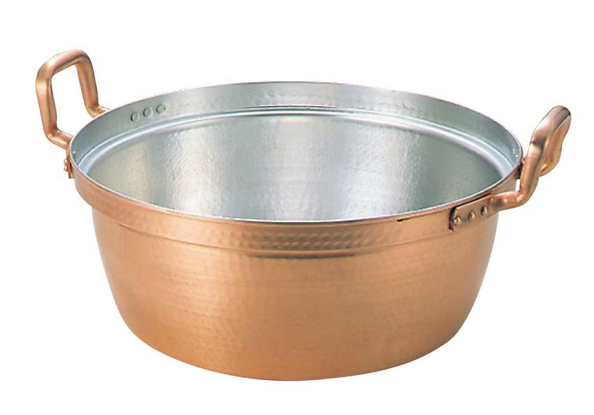 【送料無料】銅 銅鍋 料理鍋 段付鍋 錫引きあり【サイズ:60cm】【42L】ガス火対応 直火 料理なべ 段付き鍋 両手鍋 なべ ナベ