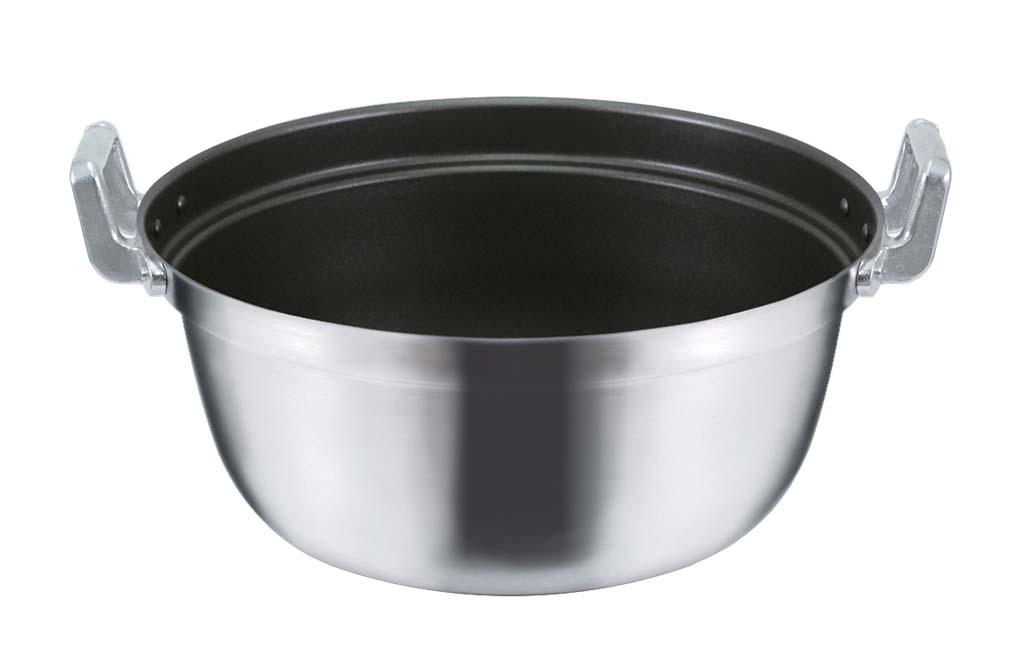 IH調理器対応 モリブデンジ ステンレス製 ノンスティック加工 料理鍋 段付鍋 サイズ42cm(20.0L)