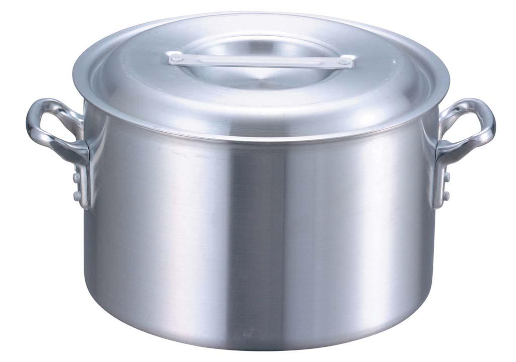 アルミ業務用鍋 IH調理器対応 ガス火対応 プロシェフ アルミIH 半寸胴鍋(目盛付)サイズ42cm(38.0L)フタつき