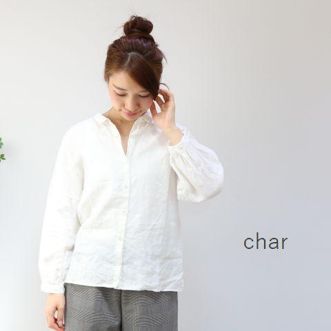 【クーポン対象外】 □□char(チャー) リネン プチカラー ブラウスmade in japanch-041b465