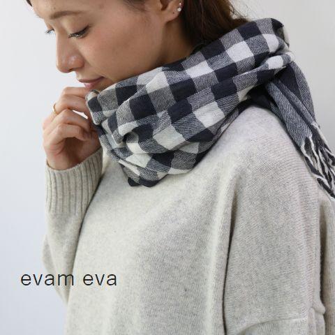 【クーポン対象外】evam eva(エヴァムエヴァ) wool check stolemade in japane173z183