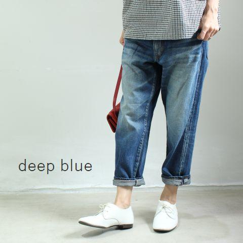 【定番商品】【LLサイズ有】 deep blue(ディープブルー) 甘織デニム ボーイフレンド アンクル丈5Pパンツ 73388-4【Re】