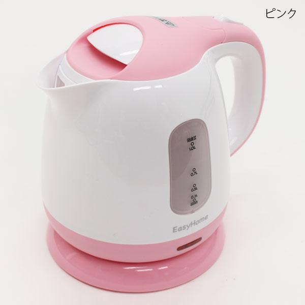 最大容量1000ml コンパクトケトル 4年保証 新作販売 KTK-300 飲む時だけ ピンク 必要なときだけ沸かす