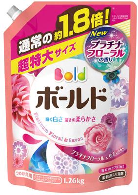 【NK】 ボールド 香りのサプリインジェル プラチナフローラル&サボンの香り 詰替え用 超特大 (1.26kg) 柔軟剤入洗濯洗剤