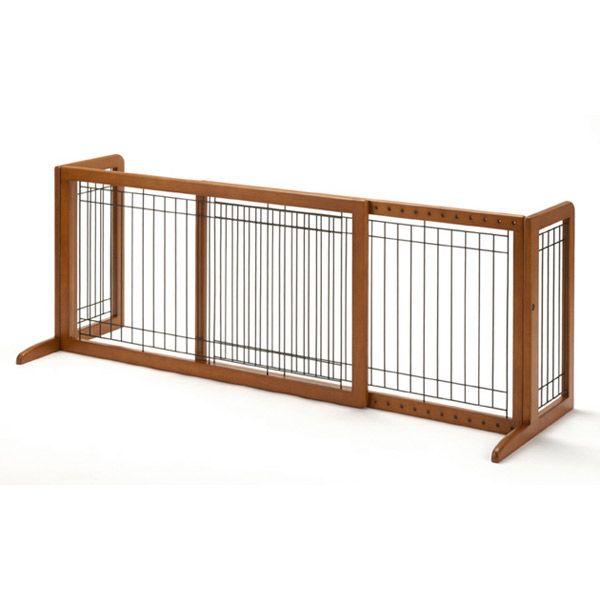 リッチェル ペット用 木製おくだけゲート ワイド (ブラウン) 小型犬用 ゲート【J】