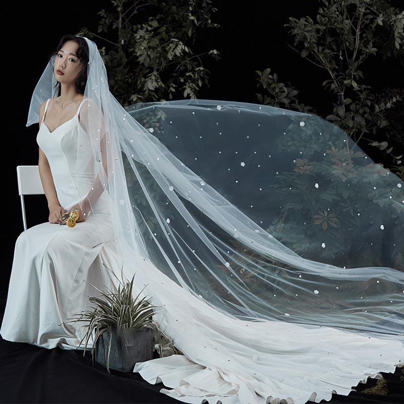 ウェディングベール 内祝い 海外ウエディング AL完売しました 結婚式 フェイスアップ ショート ベール 二重ベール ロングベール ベールダウン ブライダル ヴェール 刺繍とパール付き 森系 海辺 夏の夜 森に合う ベールアップ 3メーター 挙式 煌めきベール 星空 優雅