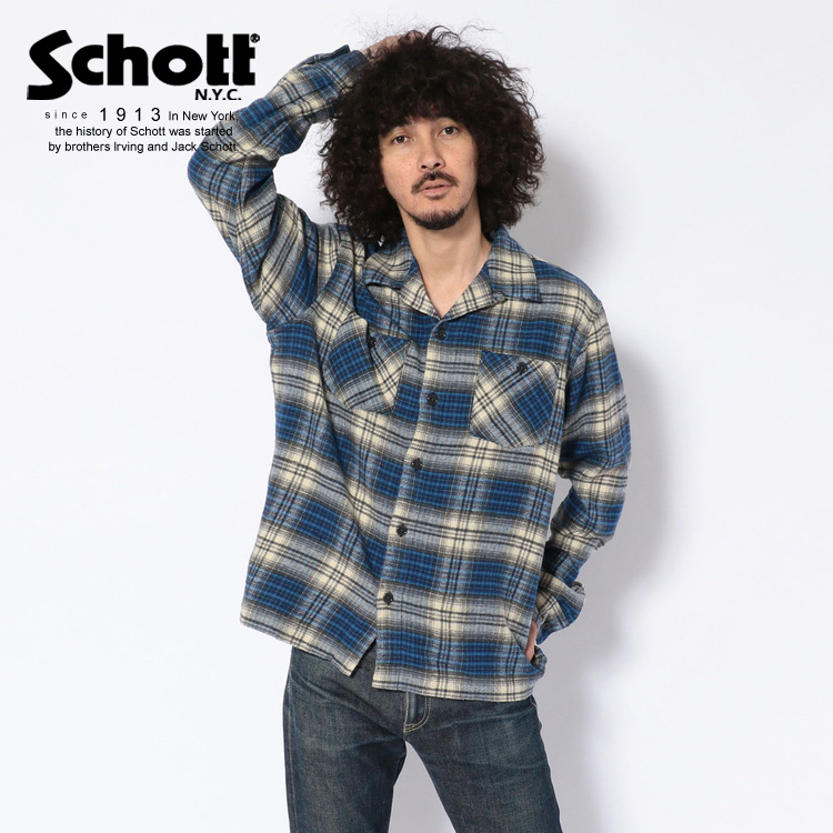 Schott/ショット 公式通販・直営店限定   VINTAGE NEL PLAID OPEN COLLAR SHIRT/ヴィンテージオープンカラーネルシャツ ブルー チェックシャツ 長袖