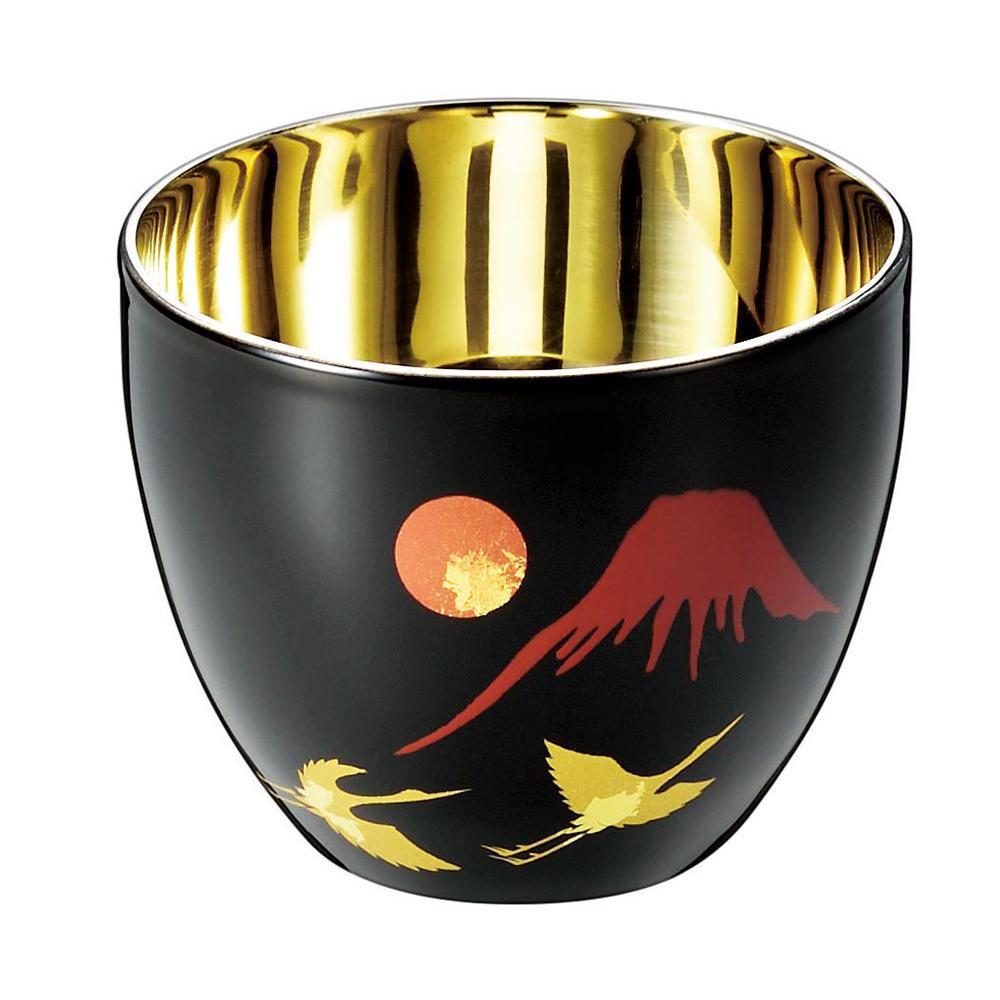 漆磨 2重ぐい呑み(1客) 本漆塗装品 SCW-GK963 石川県の蒔絵と新潟県のステンレスカップのコラボレーション。