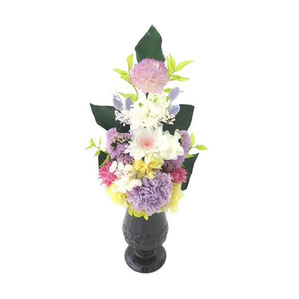 土橋美穂デザイン お供え用 プリザーブドフラワー アレンジメント 優咲 Lサイズ 花器付 お手入れいらずの仏花でいつも美しく。