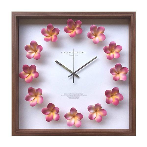 プルメリアクロック Plumeria ピンク CPC-52451 お部屋がハワイアンな雰囲気に!