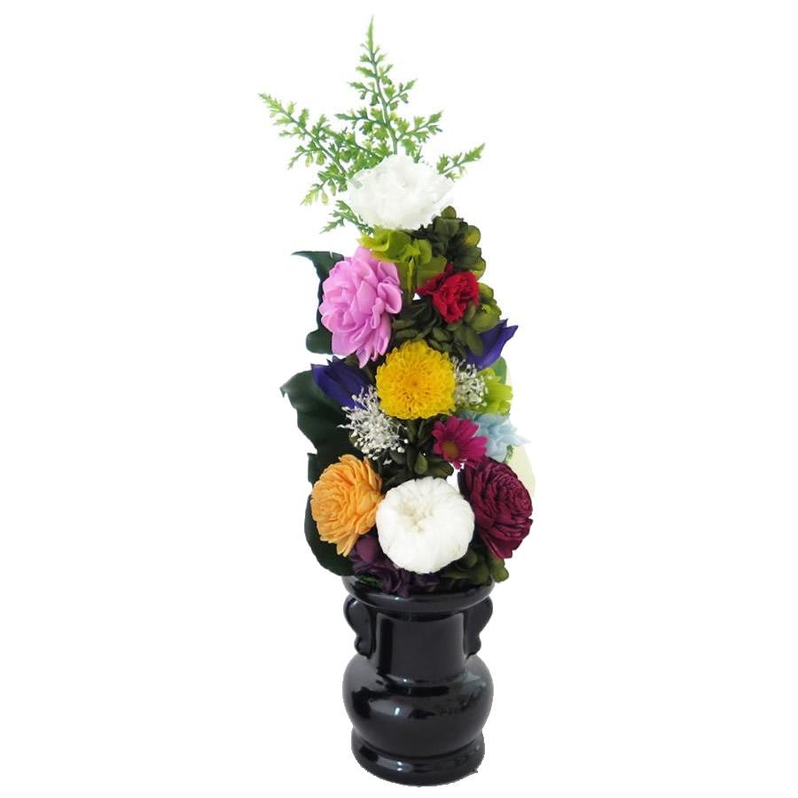 土橋美穂デザイン お供え用 プリザーブドフラワー アレンジメント Lサイズ 花器付 お手入れいらずの仏花でいつも美しく トラスト F 年末年始大決算 送料無料