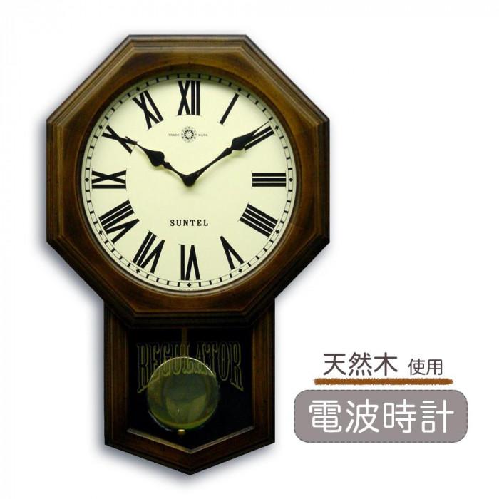 さんてる 日本製 スタンダード 電波振り子時計 (8角) アンティークブラウン SR07-R (ローマ文字) 昔ながらのなつかしい壁掛け振り子時計。