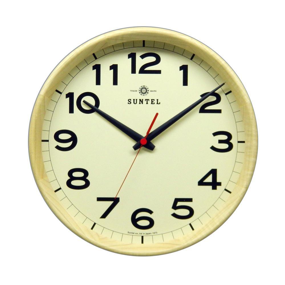 さんてる 日本製 シンプル電波掛け時計 ナチュラル DQL699-NA シンプルでおしゃれな掛け時計。