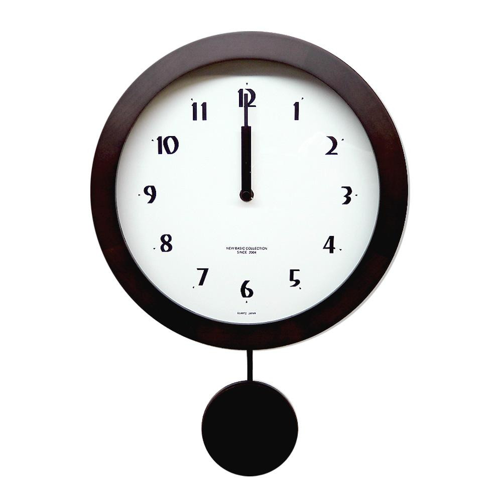 さんてる 日本製 シンプル 電波振り子 柱時計 ダークブラウン DNB501B-DBK 秒針付きの電波振り子時計。