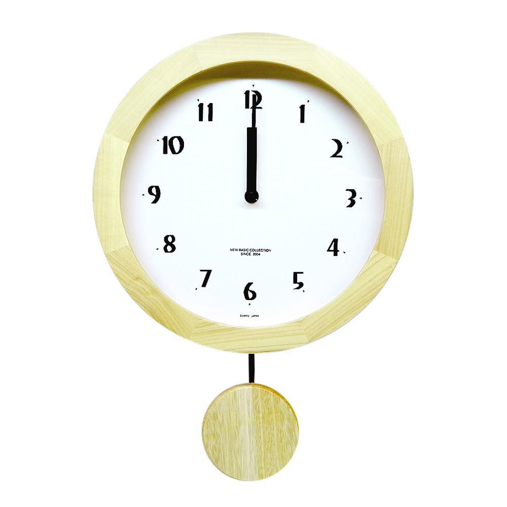 さんてる 日本製 シンプル 電波振り子 柱時計 ナチュラル DNB501B-NA 秒針付きの電波振り子時計。