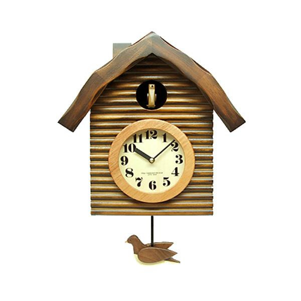 さんてる 日本製 手作り レトロ鳩時計 アンティークブラウン QL650-BR 手造りの木製鳩が可愛い♪