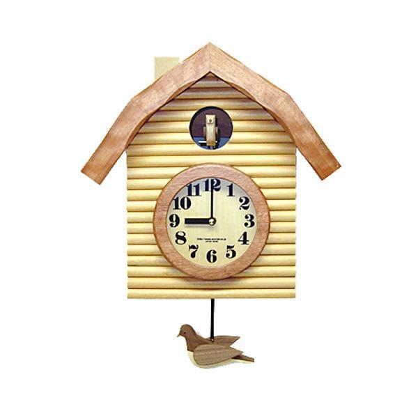 さんてる 日本製 手作り レトロ鳩時計 ナチュラル QL650-NA 手造りの木製鳩が可愛い♪