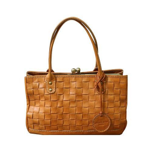 zucchero filato がま口メッシュトートバッグ BR ブラウン 40 48970 ナチュラルな風合いの本革製バッグ。