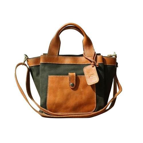 fes 帆布 2wayハンドバッグ gisere ジゼル KH カーキ 54 48987 軽やかなキャンバス素材とコシのあるヌメ革を使用!