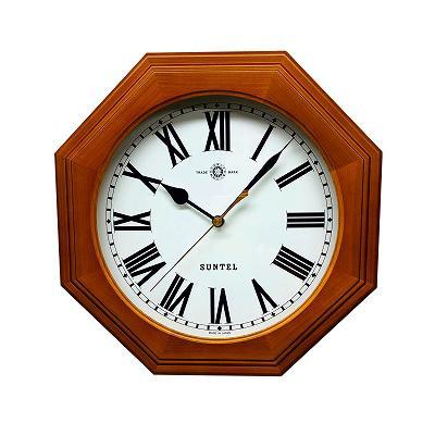 さんてる 日本製 天然木シンプル8角電波掛け時計 ブラウン (ローマ文字) SR15BR-R オーソドックスでシンプルなスタイルの時計です!