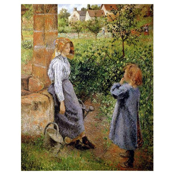 プリハード カミーユ・ピサロ 井戸端と女と子供 F6号 額縁A 3546 カミーユ・ピサロの複製画です。