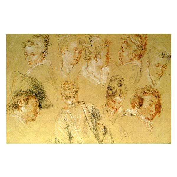 プリハード アントワーヌ・ヴァトー 頭部習作 大全紙 額縁G 5335 アントワーヌ・ヴァトーの複製画です。