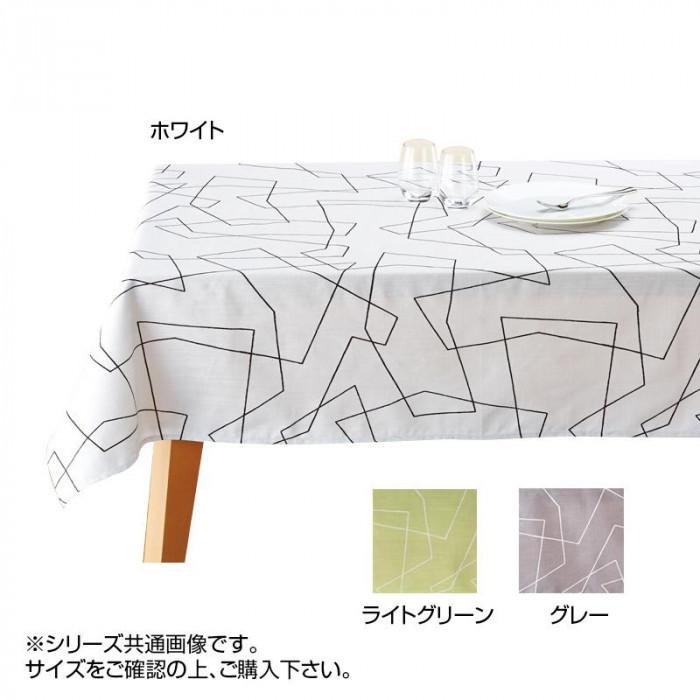 撥水加工 テーブルクロス ソッケロ 130×230cm ホワイト・430136-6510-10 シンプルなラインを描いたプリントテーブルクロス。