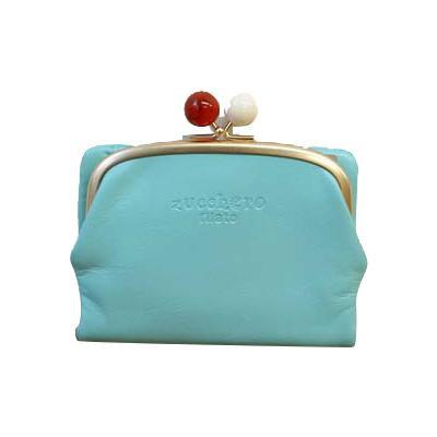 zucchero filato がま口折財布 BL 61 58058 牛革とアンティークゴールドのがま口を組み合わせた二つ折り財布