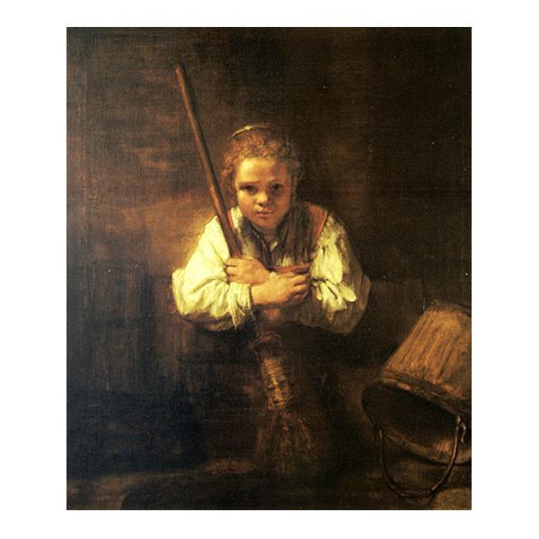 プリハード レンブラント・ファン・レイン 箒を持つ少女 F8号 額縁G 4237 レンブラント・ファン・レインの複製画です。
