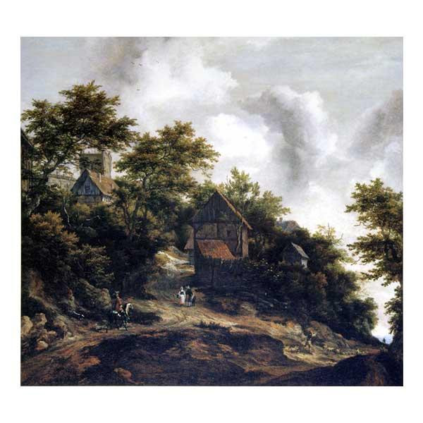 プリハード ヤーコブ・ファン・ロイスダール ベントハイム城の見える風景 F8号 額縁C 4652 ヤーコブ・ファン・ロイスダールの複製画です。