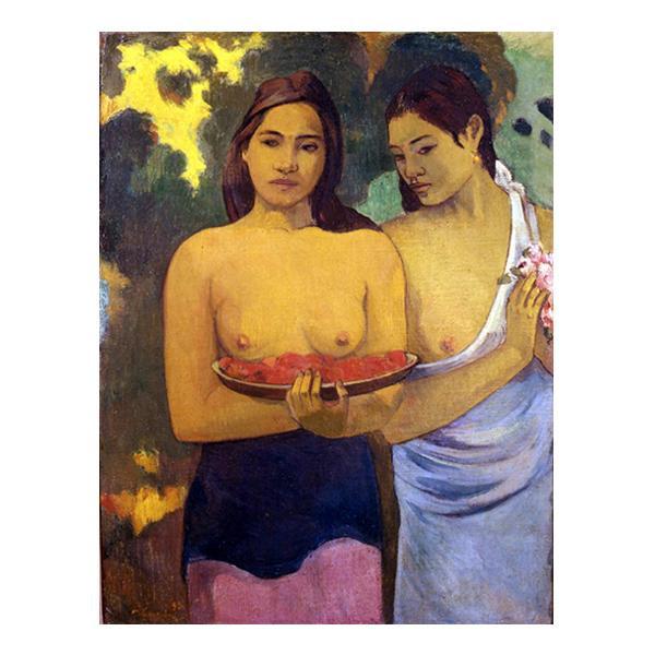 プリハード ポール・ゴーギャン 二人のタヒチの女(赤い花と乳房) F3号 額縁A 1072 ポール・ゴーギャンの複製画です。
