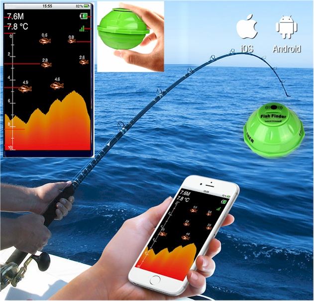 最新スマート魚群探知機/スマホ タブレット iphone 対応 ポケ探ミニ/魚探/SMART POKETAN