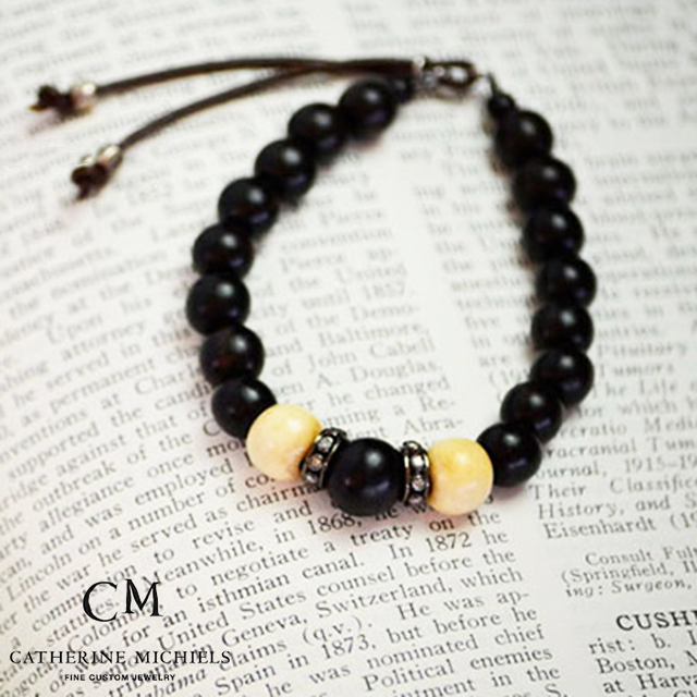 キャサリンミッシェル CATHERINE MICHIELS Stardust Bracelet  10mm BONE 10mm BLACK EBONY BEADS with DIA. RONDELES on 8mm BROWN EBONY/ ブラックボーンブレスレット スターダスト【送料無料】