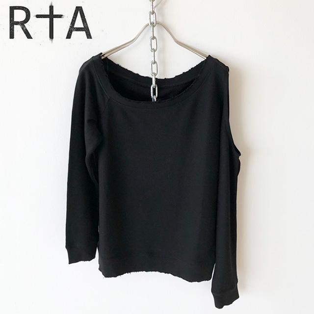862db242d1969c RtA スウェットアールティーエー WILLOW-CUTOUT SWEATSHIRT opening shoulder sweat shirt  sweat shirt cotton Lady s WF7KS-800 NOIR B