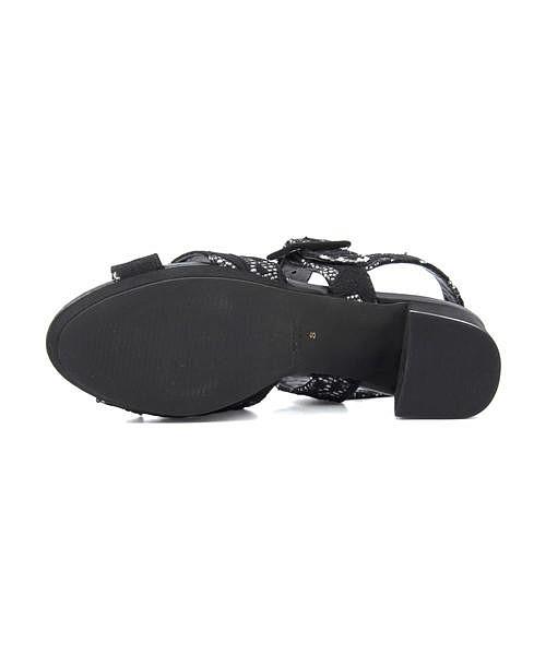 厚底 サンダル 太ヒール 歩きやすい バックストラップ 疲れない レディース レース クッション性 プラットフォーム 美脚 カジュアル デイリー トレンド ジェリービーンズ Jelly Beans 204-2230 ブラック
