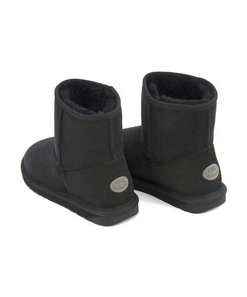 エミュー ボアブーツ ショートブーツ ぺたんこ 痛くない 歩きやすい レディース スティンガーミニ 内ボア あったか 保温 クッション性 防水 雨 雪 靴 美脚 カジュアル デイリー トレンド STINGER MINI EMU W10003 ブラック
