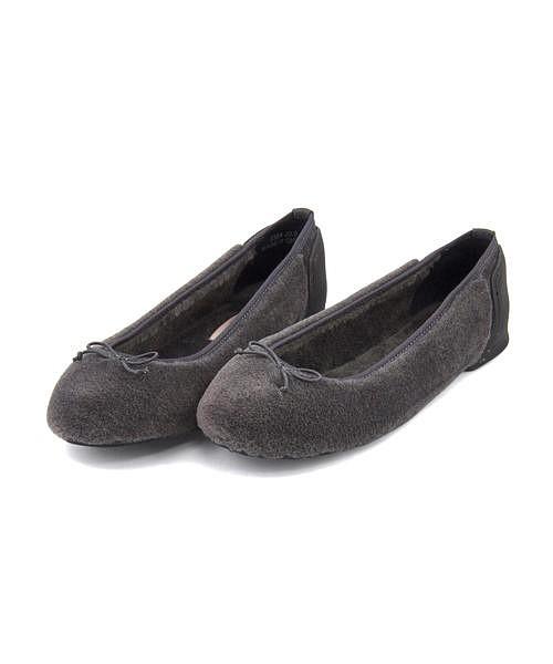 バレエパンプス 痛くない ヒール 疲れない 歩きやすい レディース ボア クッション性 美脚 カジュアル デイリー トレンド ファオン FAON 2304 グレーファブリック