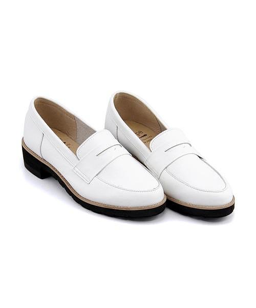 コインローファー ヒール 痛くない 歩きやすい 疲れにくい レディース クッション性 美脚 カジュアル デイリー トレンド レシピ Recipe RP-309 ホワイト