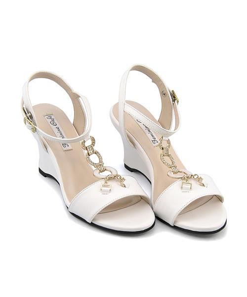 サンダル ウェッジソール 歩きやすい 疲れない レディース ビジュー付き クッション性 美脚 カジュアル デイリー トレンド フェミニンカフェ Feminine Cafe 450701 ホワイト