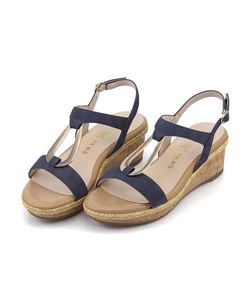 メタルモチーフ サンダル ウェッジソール 歩きやすい 疲れない レディース クッション性 美脚 カジュアル デイリー トレンド サヴァサヴァ cava cava 1320119 ブルー