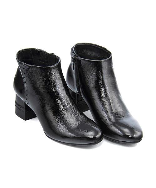 ショートブーツ 太ヒール 歩きやすい 疲れない レディース クッション性 美脚 カジュアル デイリー トレンド サヴァサヴァ cava cava 6220105 ブラック