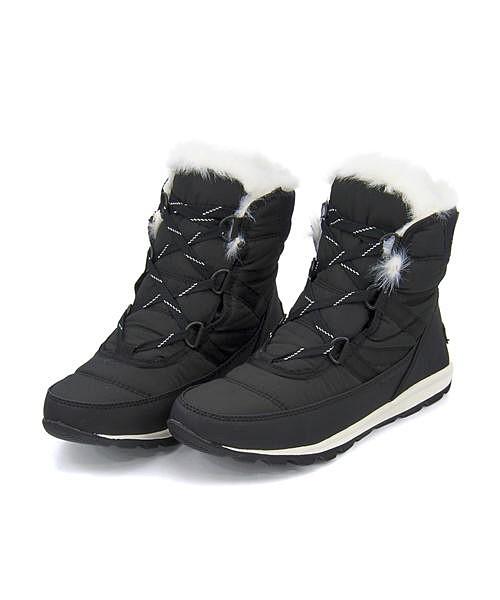 ソレル スノーブーツ レディース ウィットニーショートレース 内ボア あったか 保温 クッション性 防水 雨 雪 靴 美脚 カジュアル デイリー トラベル アウトドア WHITNYE SHORT LACE SOREL NL2776 ブラック