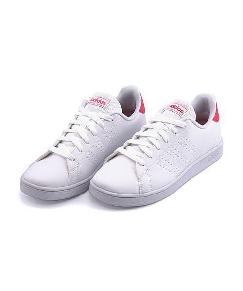 アディダス ローカット スニーカー 女の子 キッズ 子供靴 運動靴 通学靴 アドバンコートK クッション性 カジュアル デイリー スポーツ スクール 学校 ADVANCOURT K adidas EF0211 ランニングホワイト/リアルピンク/ランニングホワイト