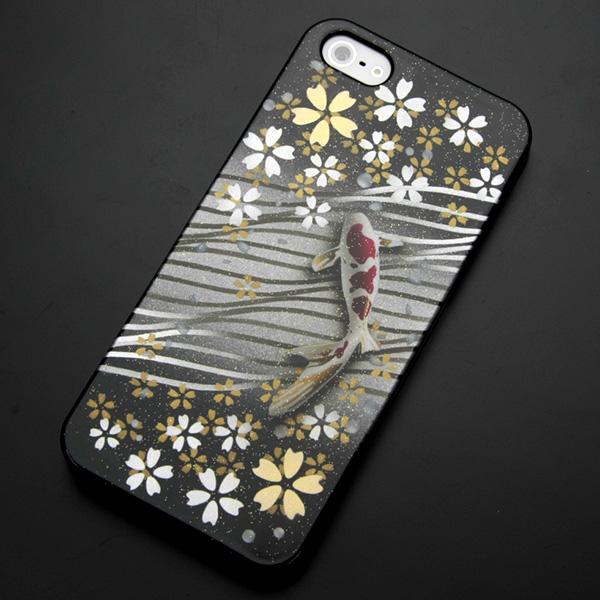 エアーブラシ ケース iPhone5 / iPhone5s 共用 (docomo/au/SoftBank)第一節魅惑 (月明かりの鯉) デザイン系カバーの最高峰 エアーブラシで作成 【送料無料】 (IPHONE5/アイフォンを傷・汚れから守るオシャレなカバー )【P06Dec14】